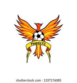 Phoenix football club logo with ribbon. Orange and yellow phoenix color