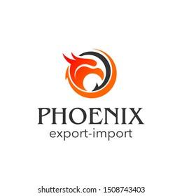 phoenix head logo vector abstract round vector bird export import icon design idea