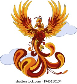 Phoenix. Hot Phoenix or eagle bird in fly silhouette. Bird tattoo, firebird logo, ancient legend character. Fairy fantasy, mythical symbol. Blaze, fenix rebirth. Tale print. Vector illustration.
