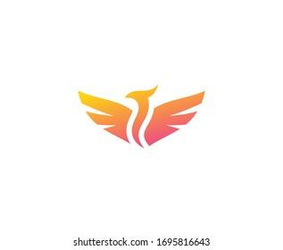 Phoenix logo bird flame vector icon
