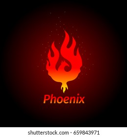 Phoenix LOGO - creative logo of the mythological bird Fenix, a unique bird - a flame born from  ashes. Silhouette of a fire bird. Logo template in form of fire and bird coming out of flame and sparks.