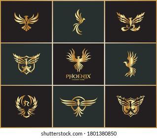 Phoenix Logo Design Collection - Fire Bird Icon Set - Golden Eagle Symbol - Abstract Gold Bird Vector - Animal Illustration