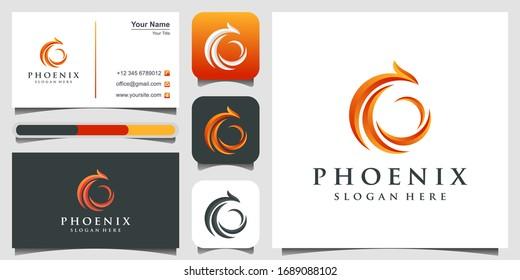 phoenix logo design. Fire bird phoenix logo design, falcon, eagle, hawk and wing vector icon. logo design, 3 favicons and business card Premium Vector.