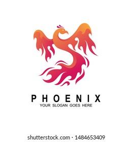 Phoenix logo design template. Vector Illustration, Fire-bird, Eagle logo