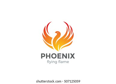 Phoenix Logo flying bird abstract design vector template. Eagle falcon soaring Logotype concept icon.