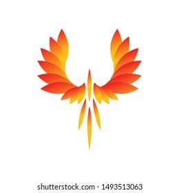 phoenix logo flying logo vector design template