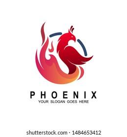 Phoenix logo template design. Vector illustration. Eagle and fire logo vector