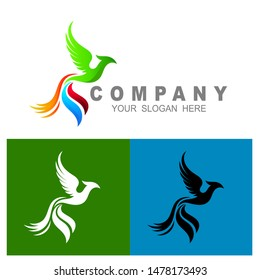 phoenix logo template, eagle logo vector,  tail icon with colorful, eagle icon template