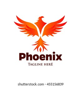 Phoenix logo template, Fire-bird, Eagle logo