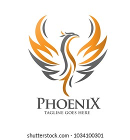 Phoenix logo template, Fire-bird vector