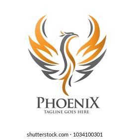 Phoenix logo template, Fire-bird vector