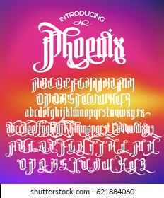 Phoenix - modern gothic Style Font. Gothic letters with alternate decoration elements. Vector alphabet