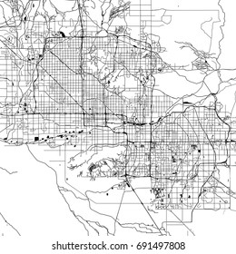 Phoenix Monochrome Vector Map. Very large and detailed outline Version on White Background. Black Highways and Railroads, Streets and Water.