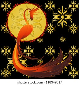 Phoenix- mythical bird, vector illustration with golden ornament
