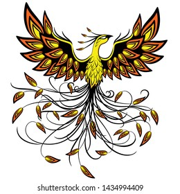 Phoenix Mythical Creature Logo Tattoo Style Vector Illustration isolated on White