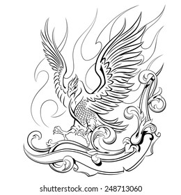 phoenix on a background of flames and oranmental, mythical animals, birds, vector illustration