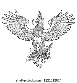 Phoenix or Phenix magic creature from ancient greek myths. Heraldic supporter. Sketch isolated on white background. EPS10 vector illustration.