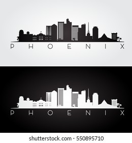 Phoenix USA skyline and landmarks silhouette, black and white design, vector illustration.