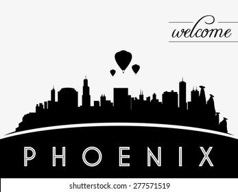 Phoenix USA skyline silhouette, black and white design, vector illustration