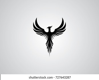 Phoenix vector drawing, black