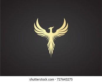 Phoenix vector drawing, gold