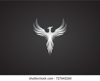 Phoenix vector drawing, silver