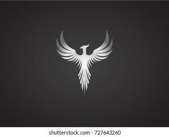 Phoenix vector drawing, silver