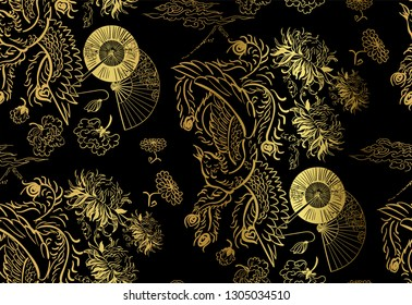 phoenix wallpaper vertical ornate oriental japanese chinese vector design seamless pattern