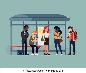 Phone addicted commuters at bus stop. Diverse group of people checking their phones whilst waiting for bus. Screen time and phone addiction concept  vector illustration