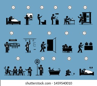 Phone addiction stick figure. Vector artwork depicts a man looking at his smartphone whole day. It shows Internet addiction, social media disorder, and phone obsession problem of modern society.