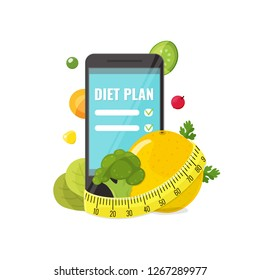 Phone with app of diet plan, orange, broccoli, vegetables and measuring tape. Diet plan concept for banners, web mobile design. Vector illustration.