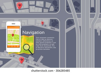 Phone Application City Map Navigation Search Street With Pins Icons Flat Vector Illustration