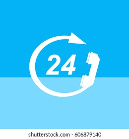 Phone, arrow, 24 hours a day.?alls around the clock.Vector icon.