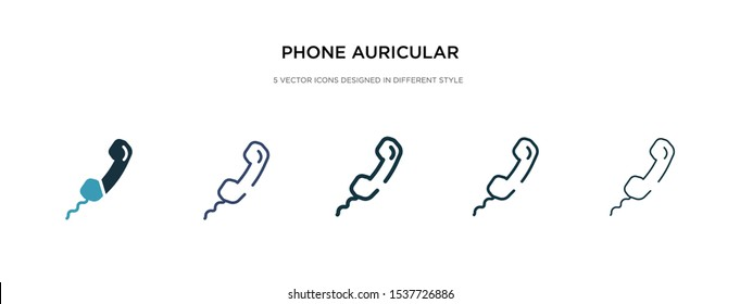 phone auricular with cable icon in different style vector illustration. two colored and black phone auricular with cable vector icons designed in filled, outline, line and stroke style can be used