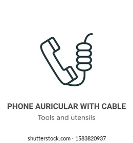 Phone auricular with cable outline vector icon. Thin line black phone auricular with cable icon, flat vector simple element illustration from editable tools and utensils concept isolated on white