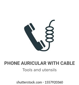 Phone auricular with cable vector icon on white background. Flat vector phone auricular with cable icon symbol sign from modern tools and utensils collection for mobile concept and web apps design.