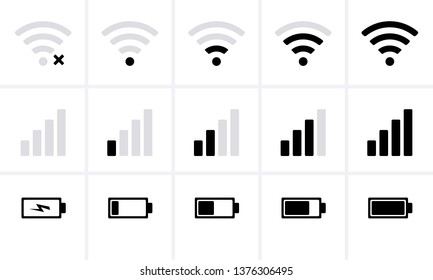 Phone bar status Icons, battery Icon, wifi signal strength. Vector for mobile phone
