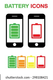 Phone Battery Icons Set Vector