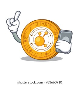 With phone BitConnect coin character cartoon