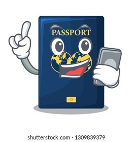 With phone blue passport in the cartoon form