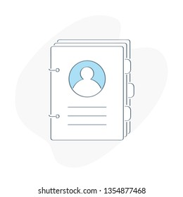 Phone book, telephone directory, handbook, catalog of names, contacts, address directory, targeting auditory, profiles, user guide, rule of use. Flat outline vector illustration on white background.