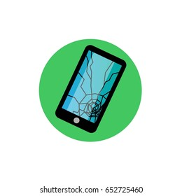 Phone broken vector icon. Phone sign with cracked screen.