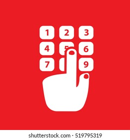phone buttons number hand Icon Vector Illustration
