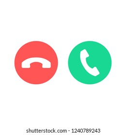 Phone call icons. Accept call and decline button. Green and red buttons with handset silhouettes. Vector icons set isolated on white background