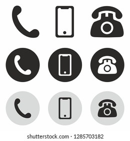 Phone call mobile icon set. Smartphone telephone device gadget icon vector