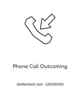 Phone Call Outcoming concept line icon. Linear Phone Call Outcoming concept outline symbol design. This simple element illustration can be used for web and mobile UI/UX.