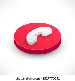 Phone Call rounded red isometric icon. 3d reject incoming button with shadow for design web interface, mobile app or website. Vector illustration