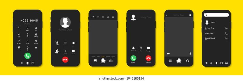 Telefonischer Anrufbildschirm Set. Schnittstelle für eingehende Anrufe.