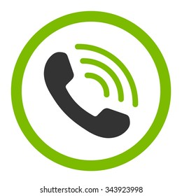 Phone Call vector icon. Style is bicolor flat rounded symbol, eco green and gray colors, rounded angles, white background.