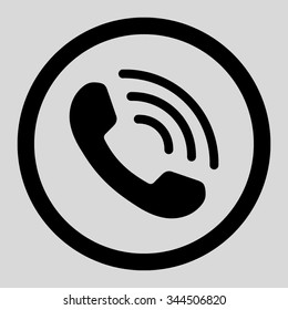 Phone Call vector icon. Style is flat rounded symbol, black color, rounded angles, light gray background.